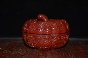 收藏漆器南瓜粉盒直徑9.5厘米