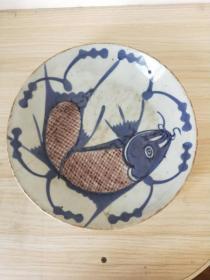 清代青花釉里紅魚盤。