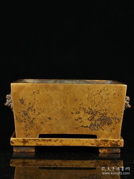 舊藏、明式-銅胎雙獅耳馬槽爐