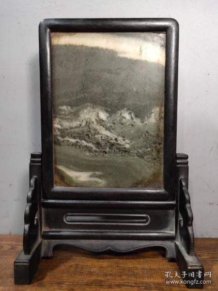 檀木鑲大理石插屏春韻屏風擺件 高29厘米