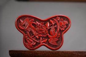 收藏蝴蝶花鳥剔紅漆器首飾盒 直徑10.5厘米