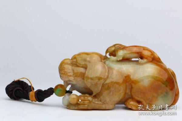 清代 和田玉雕太少獅把件 尺寸:高4.5cm長9.5cm寬3cm重263克