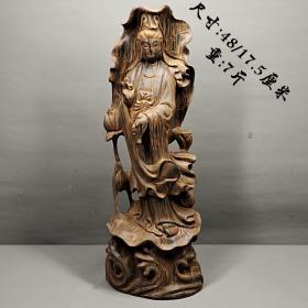 沉香木雕刻觀音擺件,雕工精美,線條流暢,皮克老辣,包漿醇厚,保存完好,值得珍藏