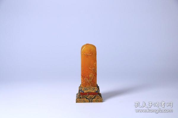 舊藏 田黃石淺浮雕人物故事印章