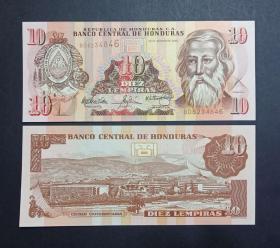 洪都拉斯 10倫皮拉紙幣 2004年 外國錢幣