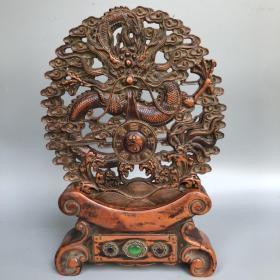 舊藏民國二十五年【高記算盤】木框松下高士圖案方形精打細算掛屏算盤,寬42厘米,厚2.8厘米               ——10月22日