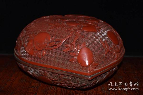 收藏桃形漆器首飾盒 擺件寬23厘米