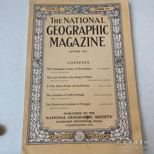 美國發貨national geographic美國國家地理1910年10月莫桑比克葡萄牙殖民地,佛里吉亞,波斯,葡萄牙