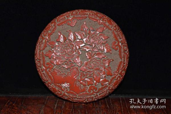 收藏牡丹花漆器首飾盒直徑17厘米