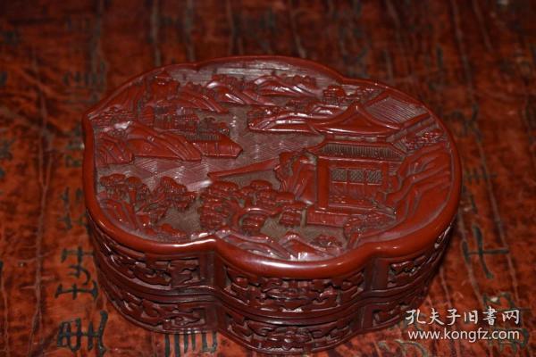 收藏漆器粉盒長11.5厘米