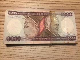 少見的倒影紙幣巴西1980年代5000克魯嫩賽紙幣一刀100張合計50萬元(鄙視刷屏賣假幣的)