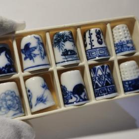 CeramicThimble七八十年代创汇时期手绘青花陶瓷顶针小摆件十个02