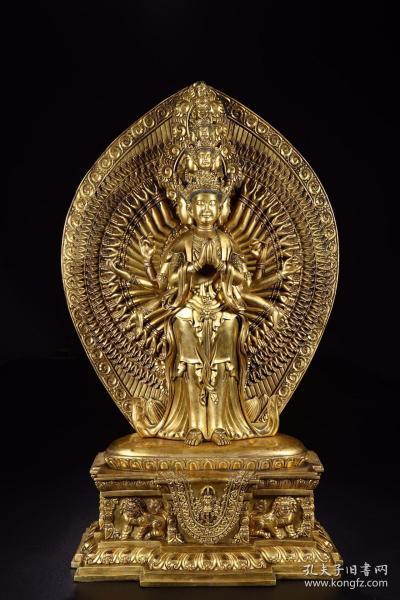 清代:铜鎏金千手观音立像