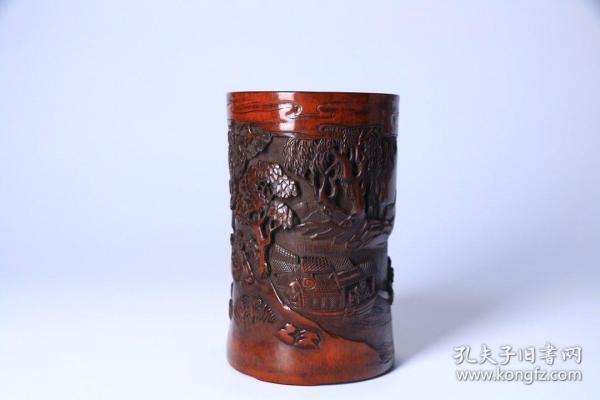 舊藏 老竹雕人物閣樓筆筒