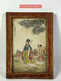 舊藏玻璃畫,王素手繪人物,繪畫細致,保存完好,成色如圖