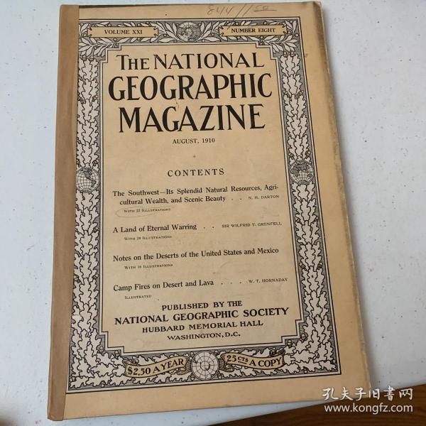 美國發貨national geographic美國國家地理1910年8月美國西南,墨西哥,加拿大拉布拉多地區