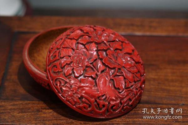 收藏剔紅牡丹漆器墨盒胭脂盒直徑10厘米