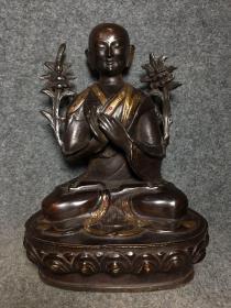 纯铜镶宝石佛像