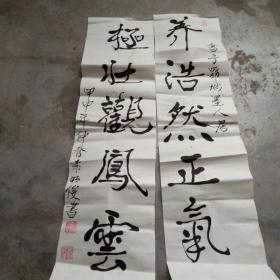 袁明俊 书法; 养浩...80x20[对联]