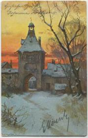 德国 1903年 实寄明信片 冬日的钟楼建筑 风光CARD27/1023a
