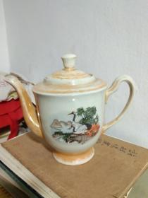 茶壶 七八十年代松鹤延年茶壶 电光釉 大茶壶.