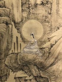 日本江户时期文人画家浦上春琴1827年岩上观音图 绢本古绫裱,玉石轴头,画心132*36,双重木箱。