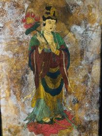 旧藏敦煌墙皮画、画工漂亮、色彩鲜艳、品相如图、保存完好