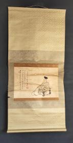 D1675:回流手绘赖襄人物图立轴(日本回流字画.日本回流书画.回流老画.回流老字画精品.真品字画)