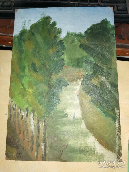 3毫米厚板纸     绘油画一幅        25.8×17.7厘米