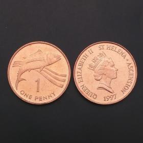 【非洲】全新 圣赫勒拿和阿森松岛1便士硬币 1997年 KM#13a