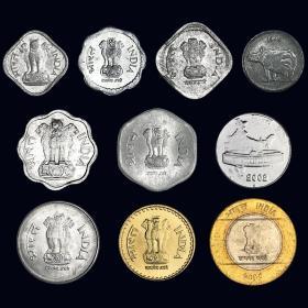 【Y-1】印度10枚硬币套币 含双色币 外国钱币 品相大致如图