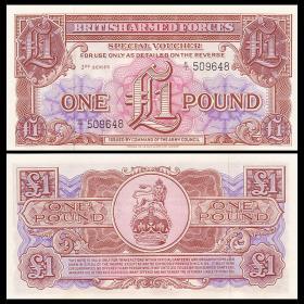 特价 全新UNC 英国1镑纸币 殖民地时期军票 老版 第三版 P-M29
