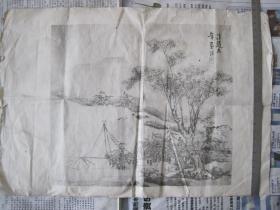 民国珂罗版印刷,山水画一幅 35--26厘米