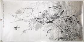 莫建成 精品 工笔花鸟  尺寸136x66cm           莫建成,现为中国美术家协会理事, 甘肃省美术家协会主席