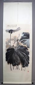清風閣畫廊-著名書畫家-張大千-荷花(純手繪)-立軸 - 4300