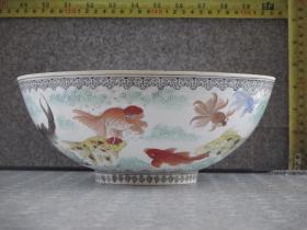 出口创汇期精品:景德镇制手绘薄胎金鱼碗