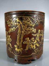 紫铜流金笔筒,高17.5公分,口径17公分,重量12斤