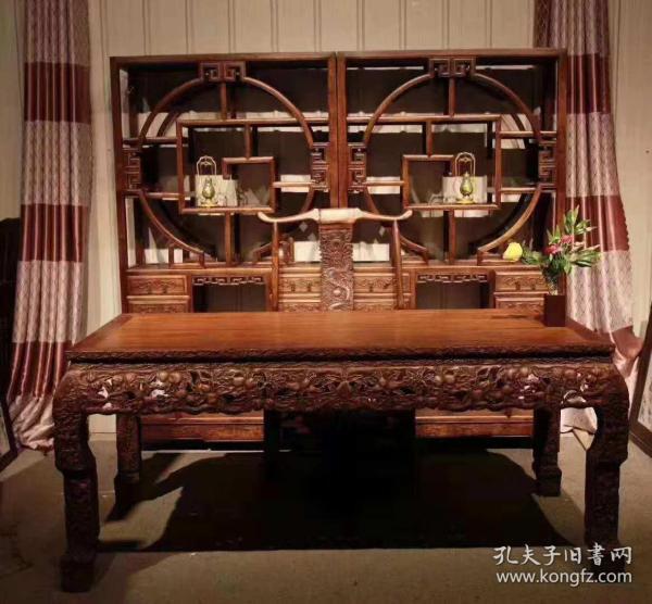 花梨木博古架椅子案子四件套,做工精细,雕刻漂亮,尺寸见图