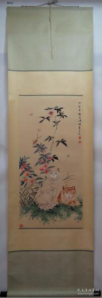 【艺林堂】著名书画家 曹克家和王雪涛█猫(纯手绘)█ 立轴  B111