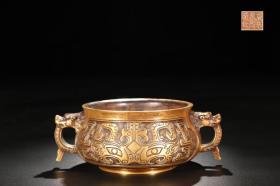 明 精铸铜胎鎏金兽面纹龙首耳炉