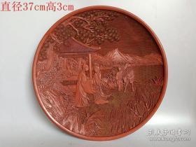 清代传世雕工不错的老漆器木人物盘74