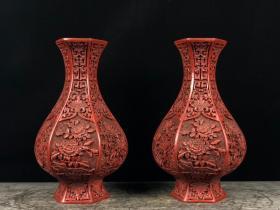 剔红漆器六棱花瓶一对