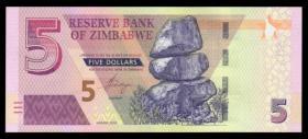 外国纸币 津巴布韦5元(2019年版) 世界钱币