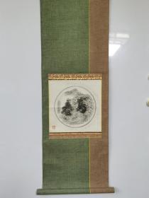 【古铜镜拓本轴】原装裱纸本,保原物拓,品相如图。 尺寸: 26 x 26 cm。