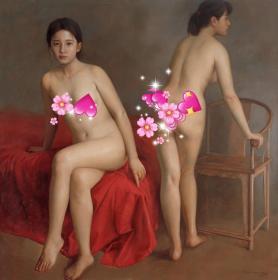 高清复制油画 袁正阳油画作品(油画布42x42厘米)