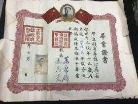 稀见《1953年江苏省常州市护士学校毕业证书》印有毛像、国旗