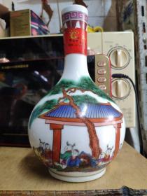 陶瓷彩釉酒瓶 梅兰春古代顽童游戏彩图酒瓶高22厘米(一斤装)