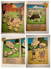 【特价】1950s古董vintage英文绘本童书Farm Favorites农场最喜欢的小动物