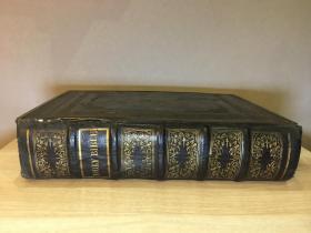 【大型书/出版时间:1864】the holy bible 全皮竹节装帧 金属包边 含彩色地图  单本重达5.5公斤 长34.5*宽25.5*高7.5cm