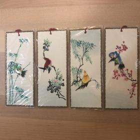 中国出口工艺品书签  四季花鸟4张(手工粘贴) BM-80